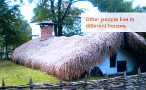 Una casa bonita en el campo para preparar el First Certificate con la frase PEOPLE LIVE