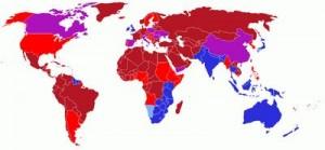 mapa de países dónde se conduce por la izquierda