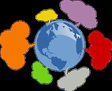 la Tierra con globos de dialogos de colores